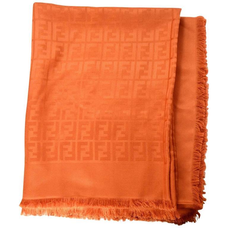 Fendi Casa Orange Zucca Monogram Throw Shawl NWT rt. $995 For Sale