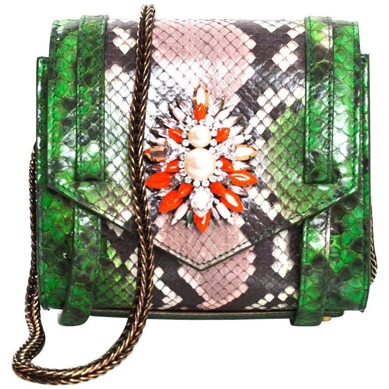 Shourouk Green Python Small Daktari Crossbody Bag with Box rt. $2,180
