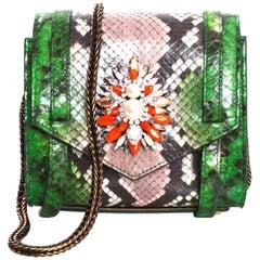 Shourouk Green Python Small Daktari Crossbody Bag with Box