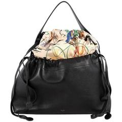 Celine Foulard Drawstring Handbag Leather