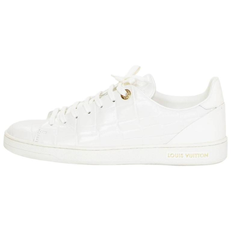 ac4901261d6d Louis Vuitton White Croc Embossed Leather Frontrow Sneakers Sz 38.5 For Sale