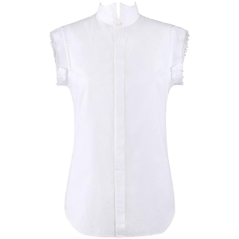 JUNYA WANTANABE for COMME DES GARCONS White Pique Raw Edge Tuxedo Shirt