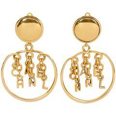 Chanel Goldtone Dangling Letter Earrings