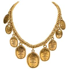 1985 Chanel Multi Coin Gold Choker Necklace