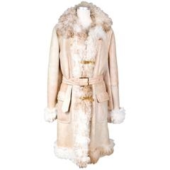 Fendi Shearling Jacket with Gold Belt Buckles, modern