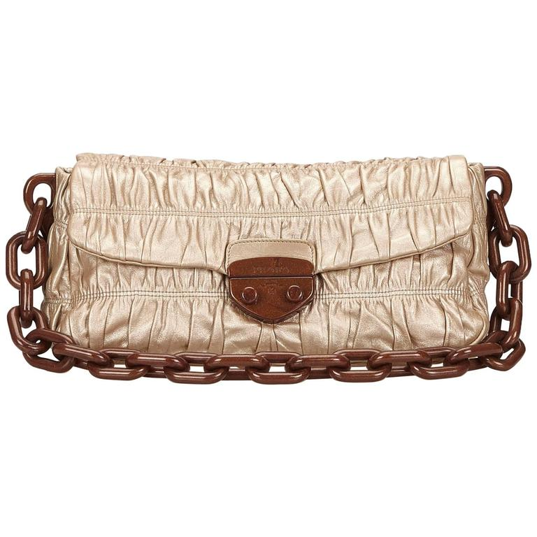 Bronze Prada Nappa Gaufre Shoulder Bag For Sale