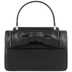 "VALENTINO Garavani A/W 2011 ""Aphrodite Small"" Black Leather Bow Detail Handbag"