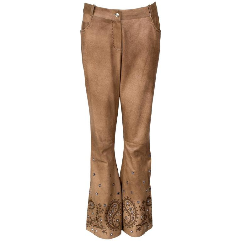 John Galliano for Christian Dior Suede Cowboy Pants circa early 2000s