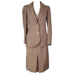 Jean Patou 3 Piece Wool Tweed Skirt Suit circa 1950s