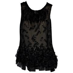 Black Carolina Herrera Embellished Tank