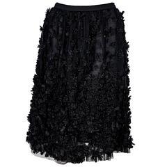 Black Oscar de la Renta Applique Skirt