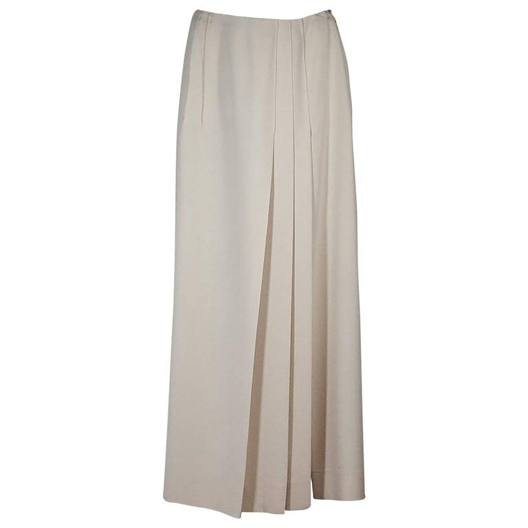 Ivory Chanel Pleated Long Skirt 1