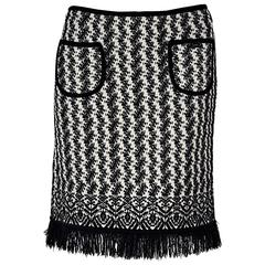 Black & White Chanel Fringed Skirt
