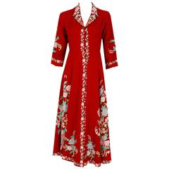 1940's Embroidered Floral Garden Red Wool Bohemian Princess Lounge Jacket Coat