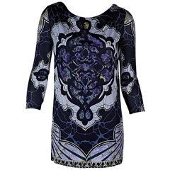 Blue Emilio Pucci Belted Printed Mini Dress