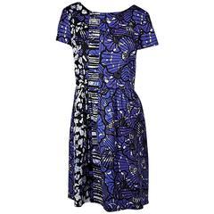 Blue Oscar de la Renta Printed Dress