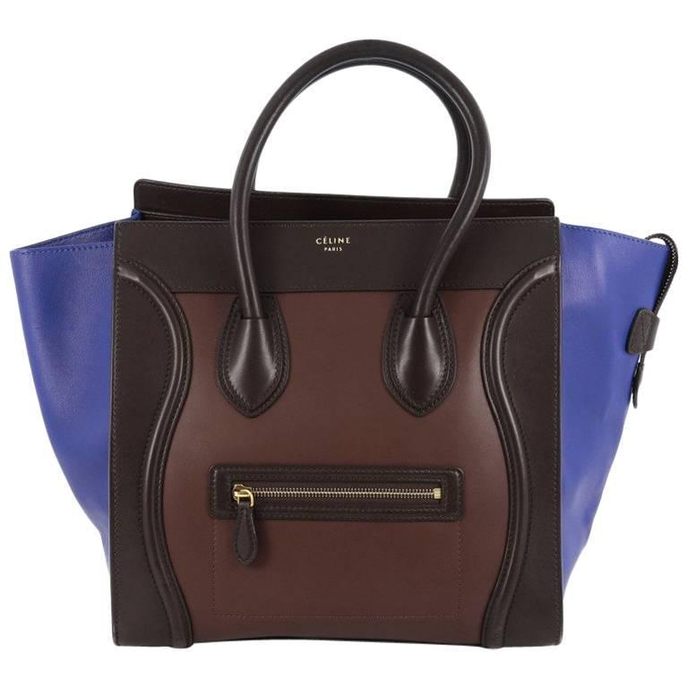 Celine Tricolor Luggage Handbag Leather Micro 1