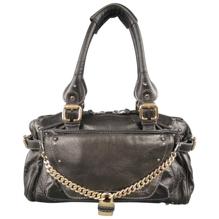 CHLOE Shoulder Bag - Charcoal Leather Paddington Capsule PadLock Chain