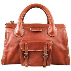 CHLOE Brown Contrast Stitch Leather Edith Handbag