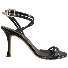 MANOLO BLAHNIK Size 6.5 Black Patent Snake Skin Leather Ankle Strap Sandals