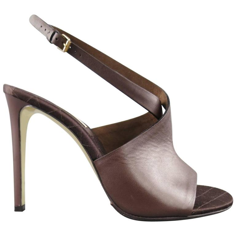 STELLA McCARTNEY Size 10.5 Brown Faux Leather Peep Toe Ankle Strap Sandals For Sale