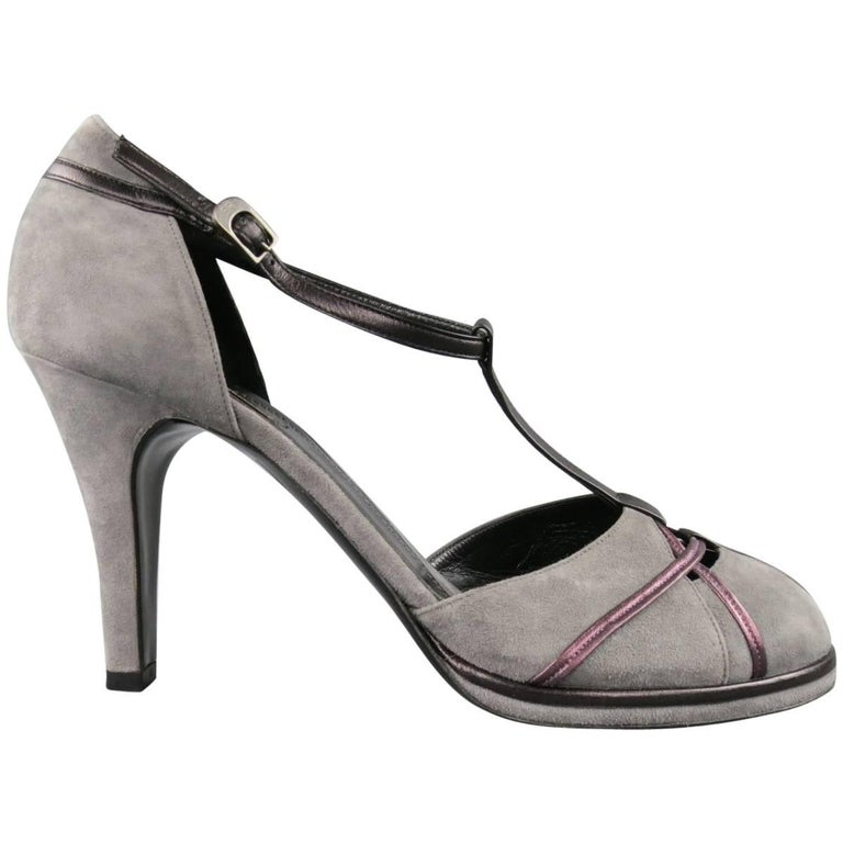 SONIA RYKIEL Size 10 Grey & Purple Suede T-strap Pumps For Sale