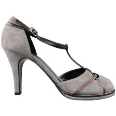 SONIA RYKIEL Size 10 Grey & Purple Suede T-strap Pumps