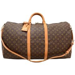 Vintage Louis Vuitton Keepall 60 Bandouliere Monogram Canvas Duffel Travel Bag