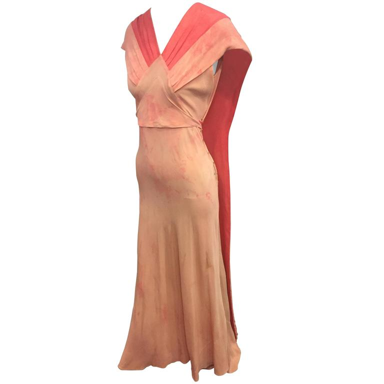 1930's Bias Cut Two-Tone Pink Tie Dye Gown  For Sale