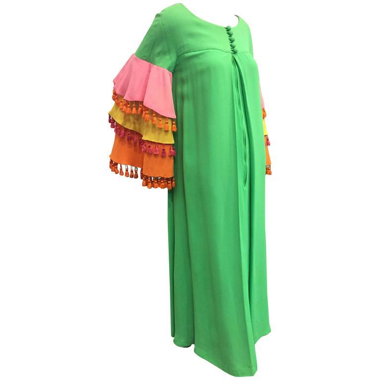 1960's Fern Violette Tropical Cabana Hostess Dress  1