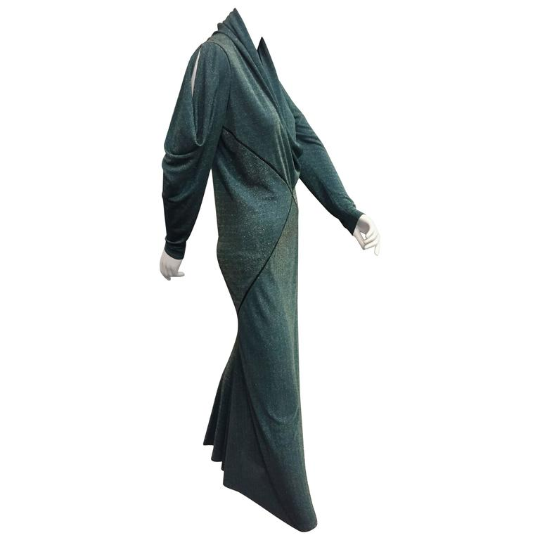 1980s Janice Wainwright Teal Lurex Jersey Gown w 1930s Inspired Bias Detailing