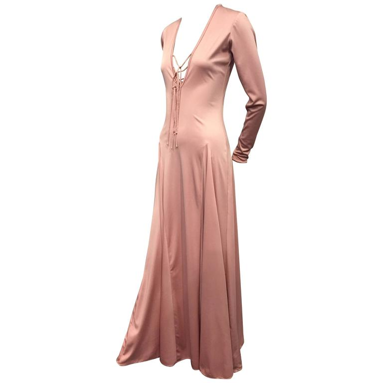 1970s Esteban Rose Pink Silk Jersey Disco Maxi w Lace Up Detail For Sale