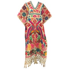 Folkloric Fluorescent Embroidered Poncho with Peacock Motif, 1970s