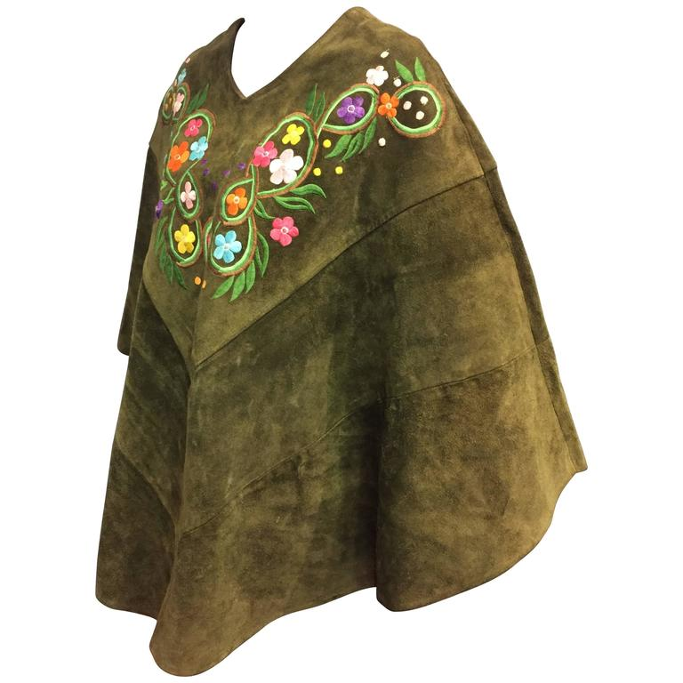 1960's Olive Tone Suede Poncho with Embroidered Flowers  1