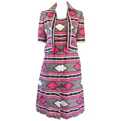1960s Malcolm Starr Pink + Brown + White 60s A - Line Dress and Bolero Jacket