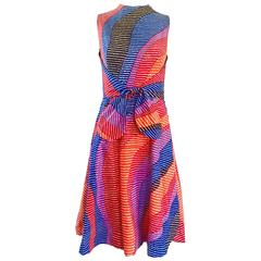 Geoffrey Beene Saks 5th Ave Rainbow Vintage Cotton A Line Dress, 1960s
