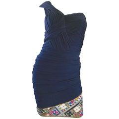 Gorgeous Vintage Paul Louis Orrier Navy Blue Chiffon One Shoulder Beaded Dress