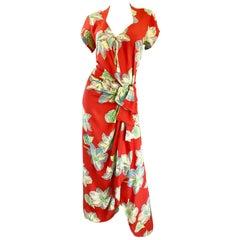 Gorgeous 1930s Cold Silk Burnt Orange Hawaiian Vintage 30s Sarong Flower Dress