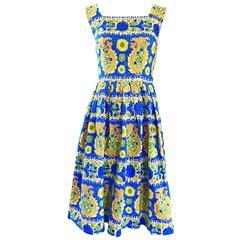 1950s Baumwolle Beautiful Blue + Yellow Vintage 50s Sleeveless Cotton Sun Dress