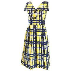 Alan Phillips Navy Blue Yellow and White Plaid Cotton A Line Dress, 1960s