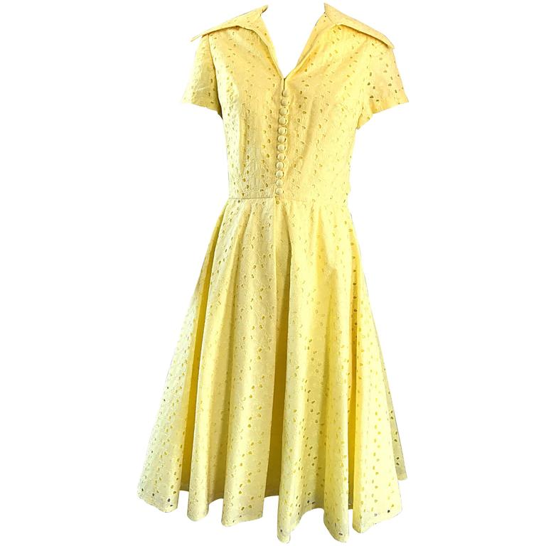 1950s Demi Couture Pale Yellow Eyelet Fit Flare Short Sleeve Cotton 50s Dress For