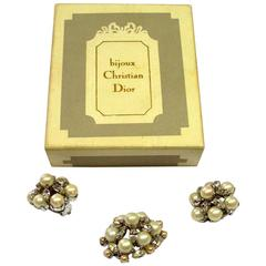 Dior Vintage 1960 Clip Earring set and brooch /  Good Condition