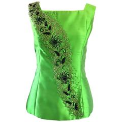 Gorgeous 1950s Green Silk Shantung Beaded Crystal Couture Sleeveless Blouse Top