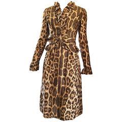 Mollie Parnis 1960s Chic Leopard Cheetah Print Silk Vintage 60s A Line Dress
