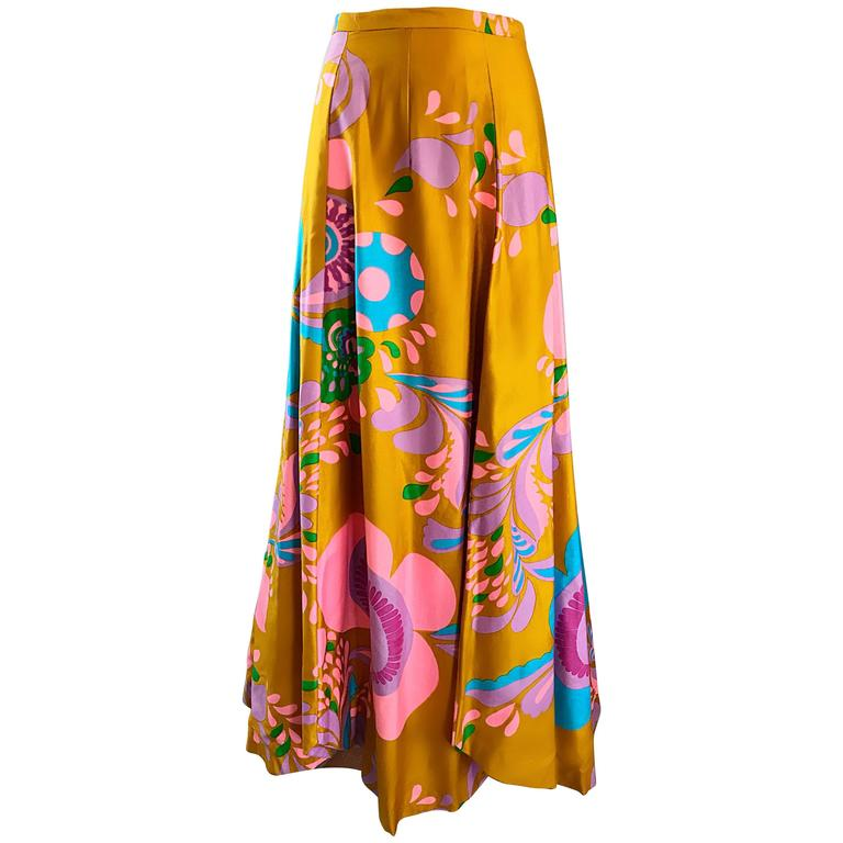 93d9e6f0c2 Amazing 1970s Brightly Colored Psychedelic Asymmetrical Petal Hem 70s Maxi  Skirt For Sale