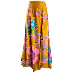 Amazing 1970s Brightly Colored Psychedelic Asymmetrical Petal Hem 70s Maxi Skirt