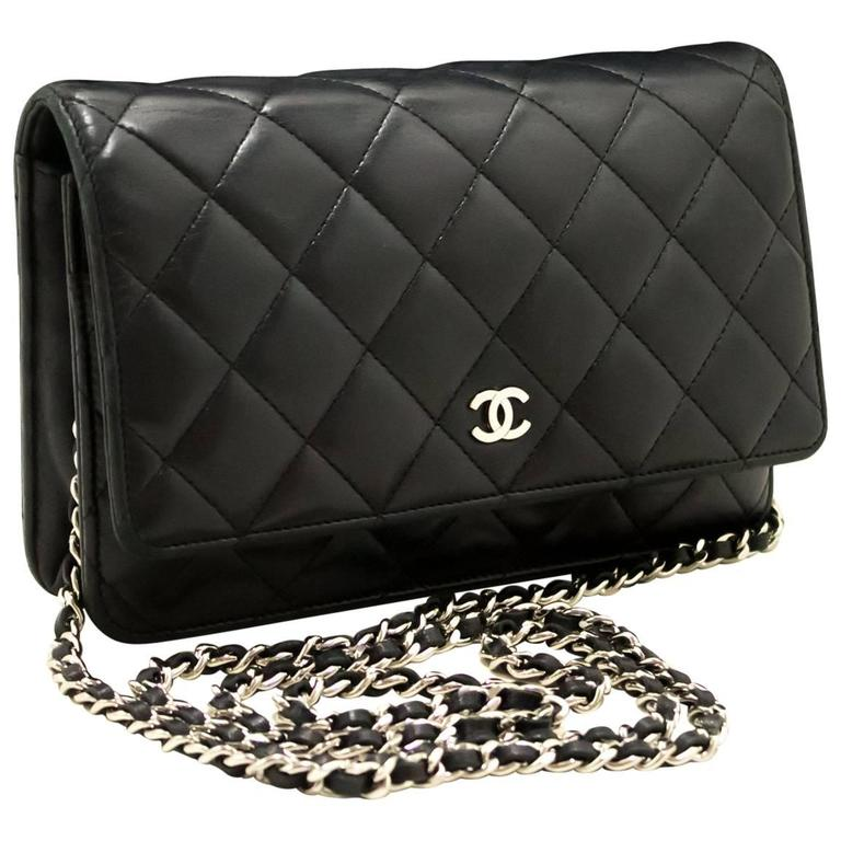 6bb6fa7ed1acfa CHANEL Wallet on Chain WOC Shoulder Bag Clutch Black Lambskin For Sale