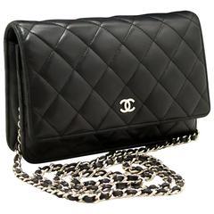 CHANEL Wallet on Chain WOC Shoulder Bag Clutch Black Lambskin