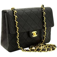 CHANEL Mini Small Chain Shoulder Bag Crossbody Black Quilted Flap