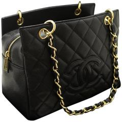 CHANEL Caviar Small Shopping Tote Bag Chain Shoulder Black Quilted